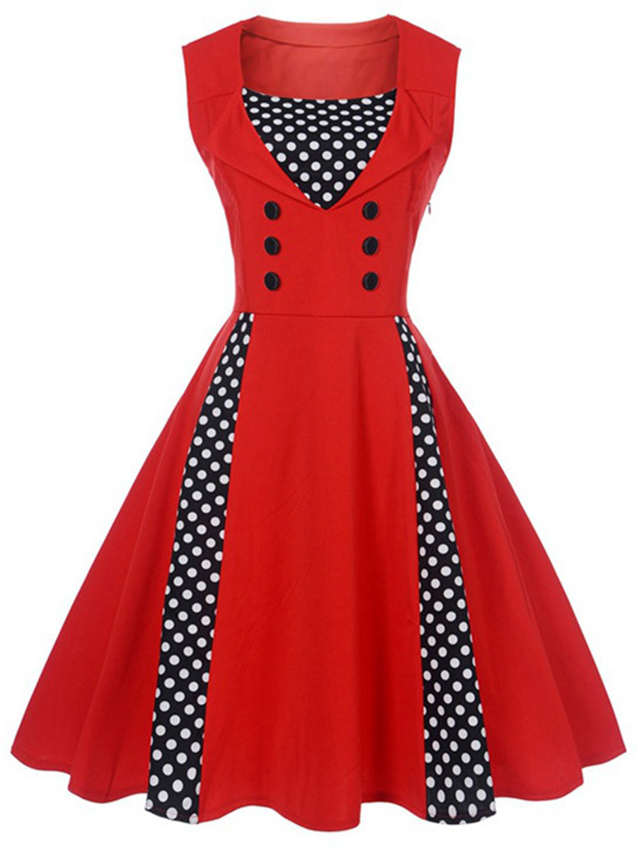 Vintage Polka Dot Color Block Sleeveless Skater Dress