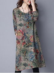 Casual Round Neck Pocket Printed Shift Dress