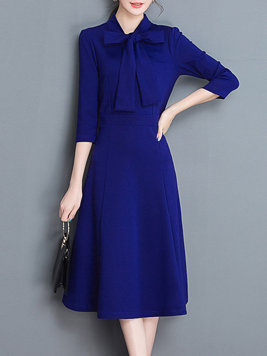 Courtly Tie Collar Bowknot Plain Maxi Dress