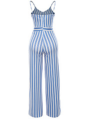 Spaghetti Strap  Bowknot Cutout  Vertical Striped  Wide-Leg Jumpsuit