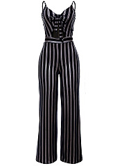 Spaghetti-Strap-Bowknot-Cutout-Vertical-Striped-Wide-Leg-Jumpsuit