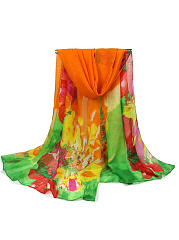 Boho Colorful Floral Long Scarf