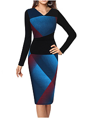 Round Neck  Zips  Contrast Piping High Stretch  Abstract Print Bodycon Dress