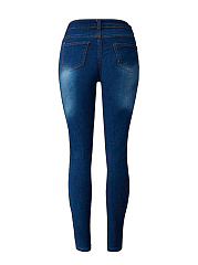 Patch Pocket Ripped Light Wash Slim-Leg Mid-Rise Jean