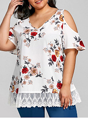 V-Neck  Decorative Lace Patchwork  Printed  Short Sleeve Plus Size T-Shirts