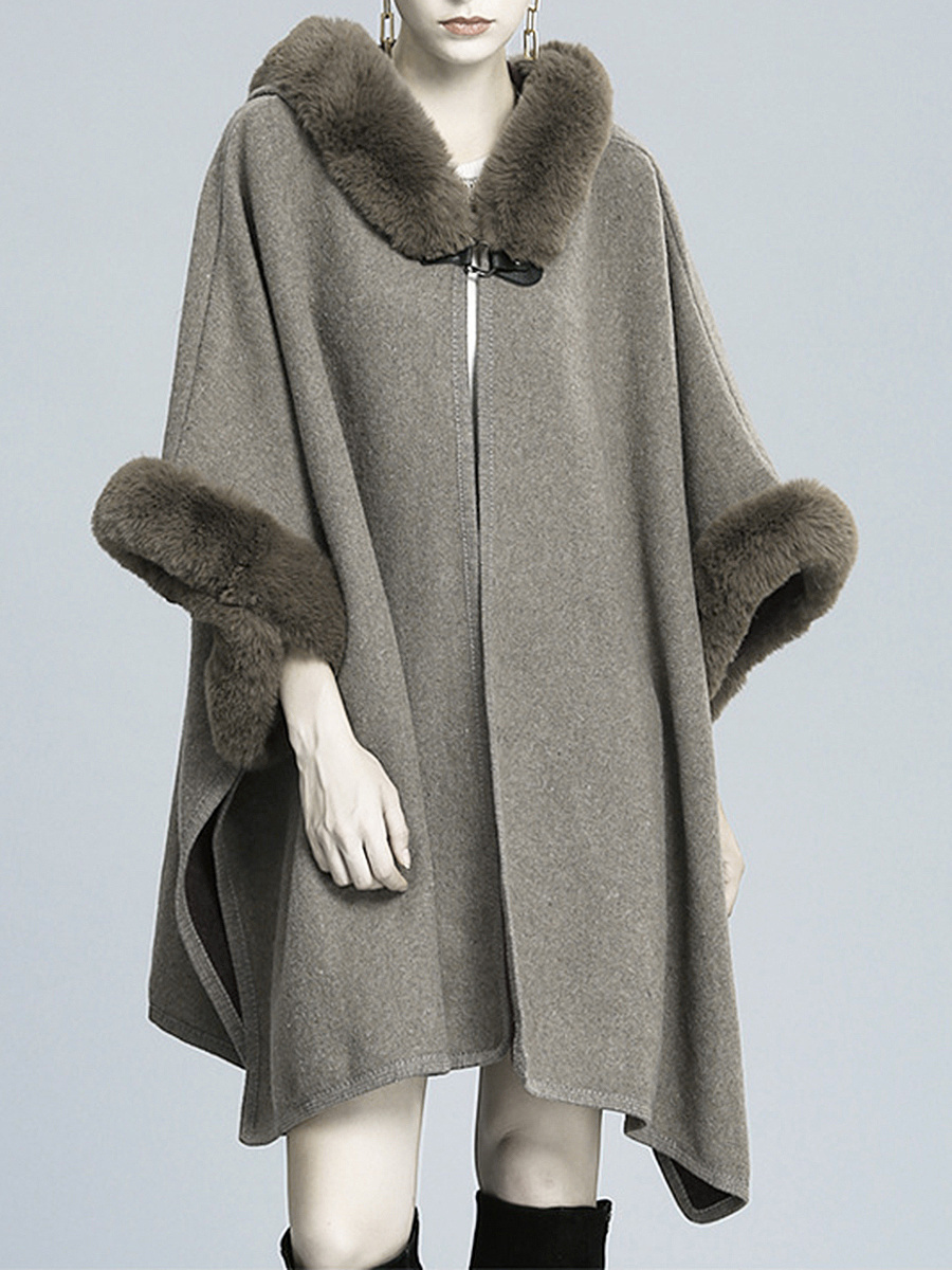 Oversized Hooded Single Button Woolen Coat
