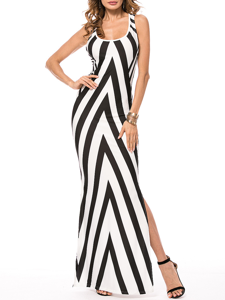 Black White Striped Scoop Neck Back Hole Side Slit Maxi Dress