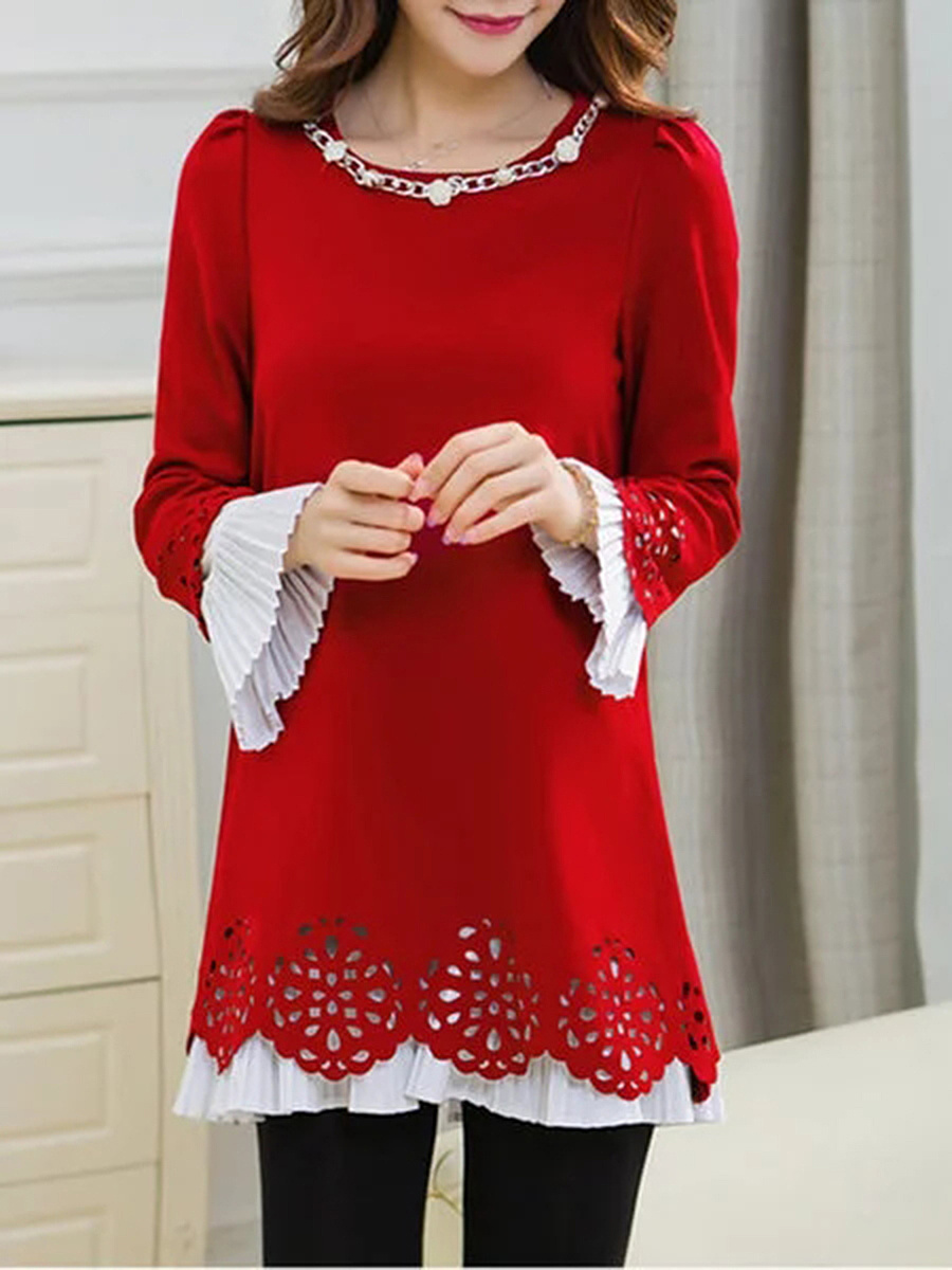 Round Neck  See-Through  Decorative Hardware  Color Block  Polyester Shift Dress
