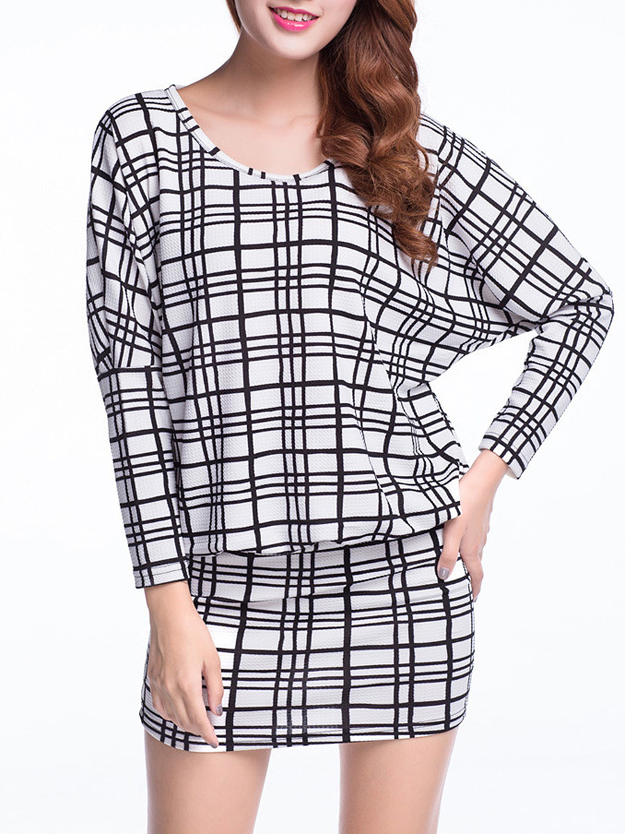 Round Neck  Plaid Batwing Bodycon Dress