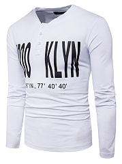 Henley Collar Men Letters Printed T-Shirt