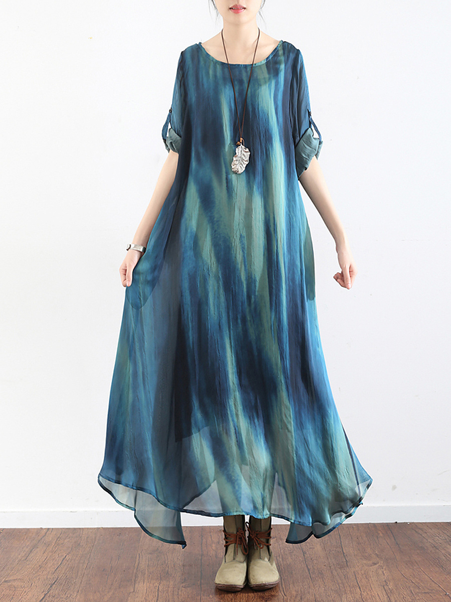 Round Neck Gradient Chiffon Two-Piece Maxi Dress