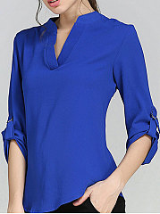 Spring Summer  Polyester  Women  V-Neck  Plain  Long Sleeve Blouses