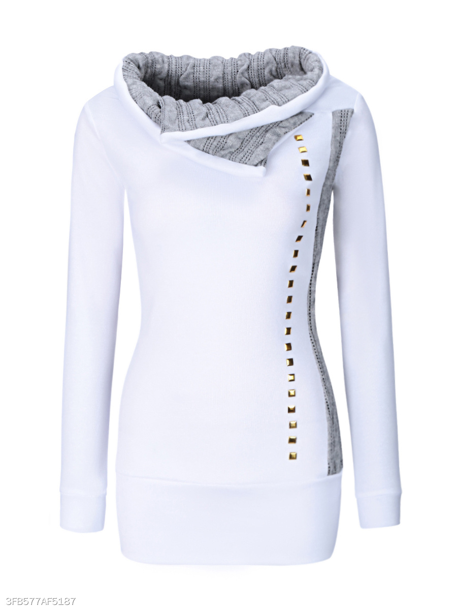 Trendy Fold-Over Collar Rivet Sweatshirt