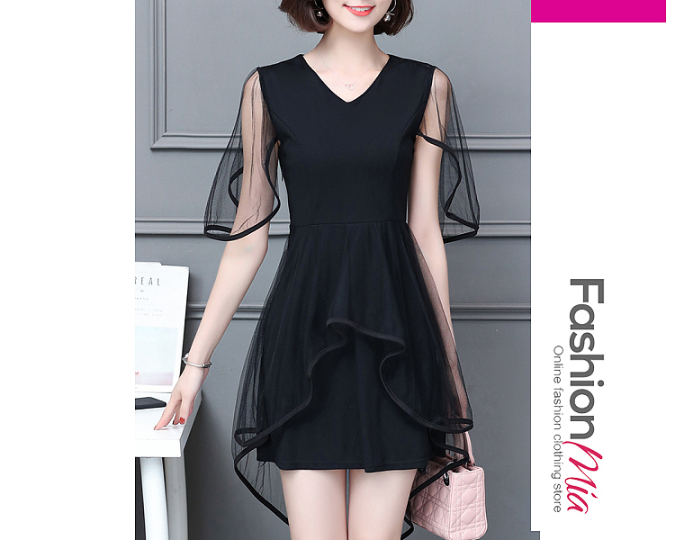 thickness:regular, brand_name:fashionmia, down_content:100%, style:elegant,fashion, material:polyester, collar&neckline:v-neck, embellishment:contrast trim, pattern_type:plain, length:knee-length, how_to_wash:cold  hand wash, supplementary_matters:all dimensions are measured manually with a deviation of 2 to 4cm., occasion:date,office,semi-formal, season:autumn,spring,summer, dress_silhouette:fitted, package_included:dress*1, lengthshouldersleeve lengthbustwaist
