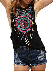 Spring Summer  Polyester  Women  Round Neck  Abstract Print Floral Printed Sleeveless T-Shirts