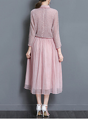 ... Solid Knitted Top And Doll Collar Maxi Dress