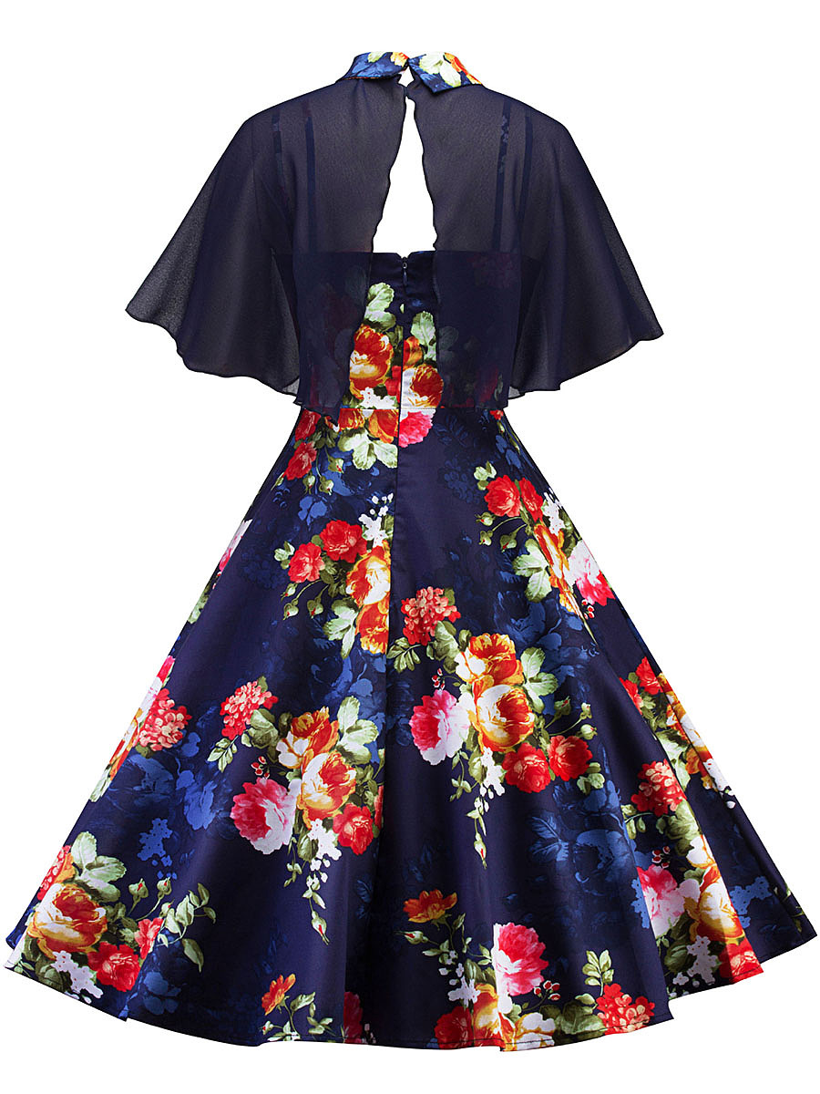Doll Collar Hollow Out Cape And Spaghetti Strap Printed Skater Dress