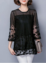Autumn Spring  Cotton  Women  Round Neck  See-Through  Fake Two-Piece  Polka Dot  Kimono Sleeve  Three-Quarter Sleeve Blouses
