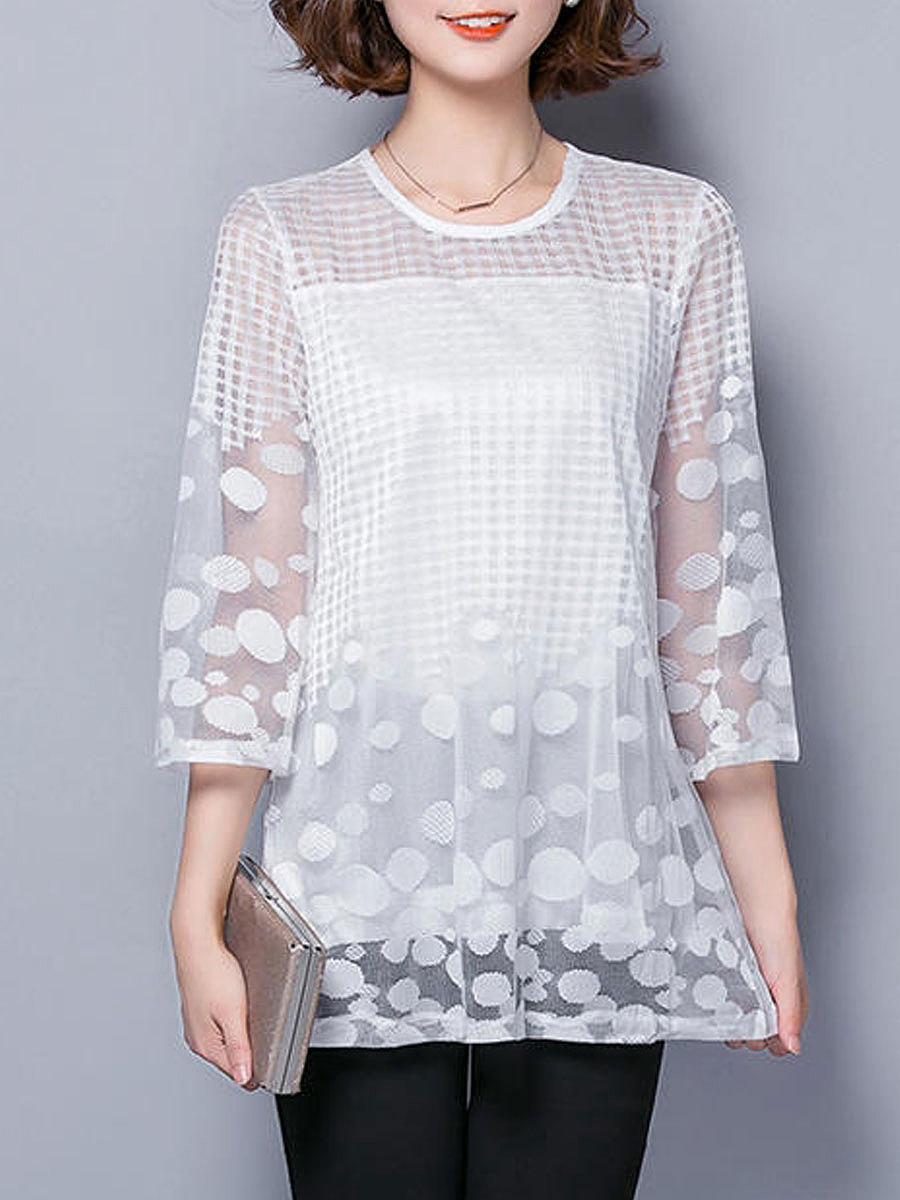... Three-Quarter Sleeve Blouses. Autumn Spring Cotton Women Round Neck See-Through  Fake Two-Piece Polka Dot Kimono