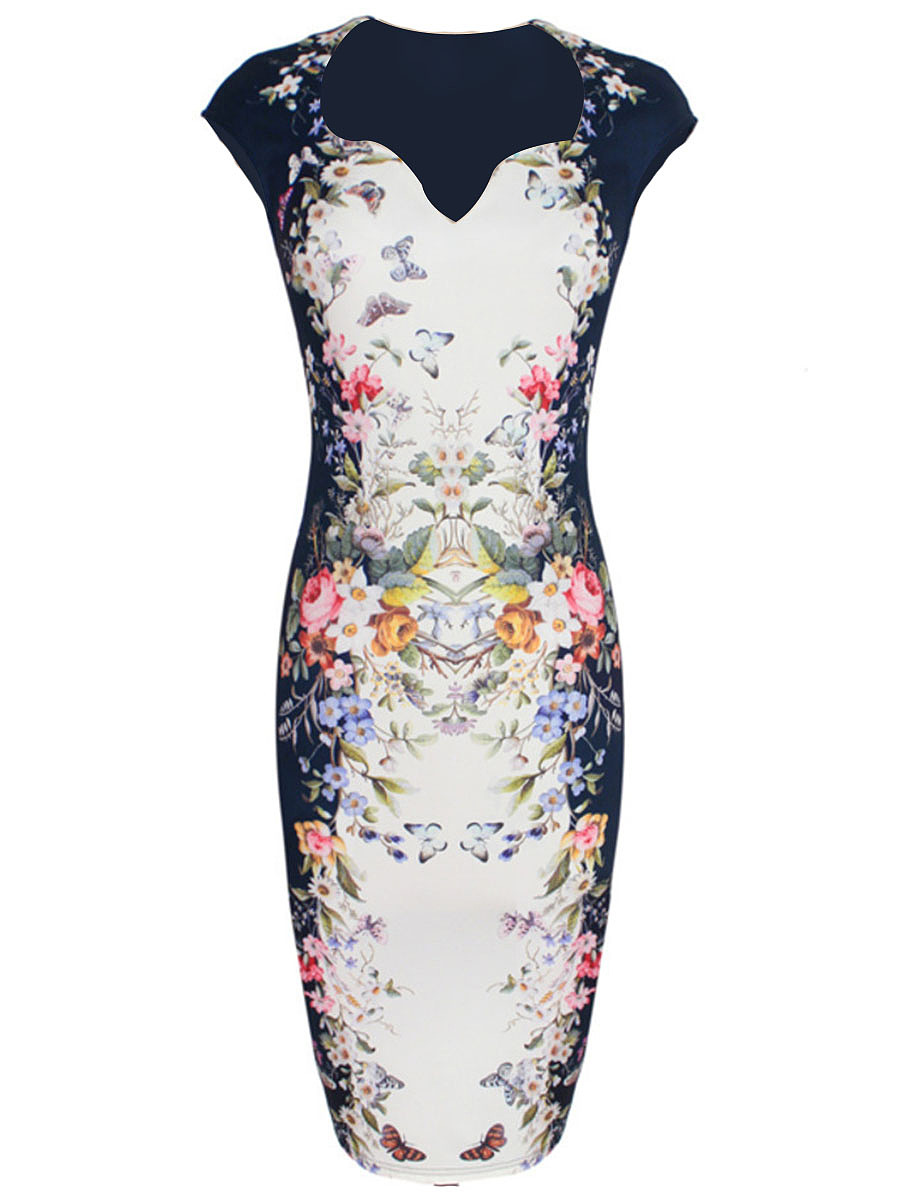 Elegant Split Neck Printed Cotton Bodycon Dress