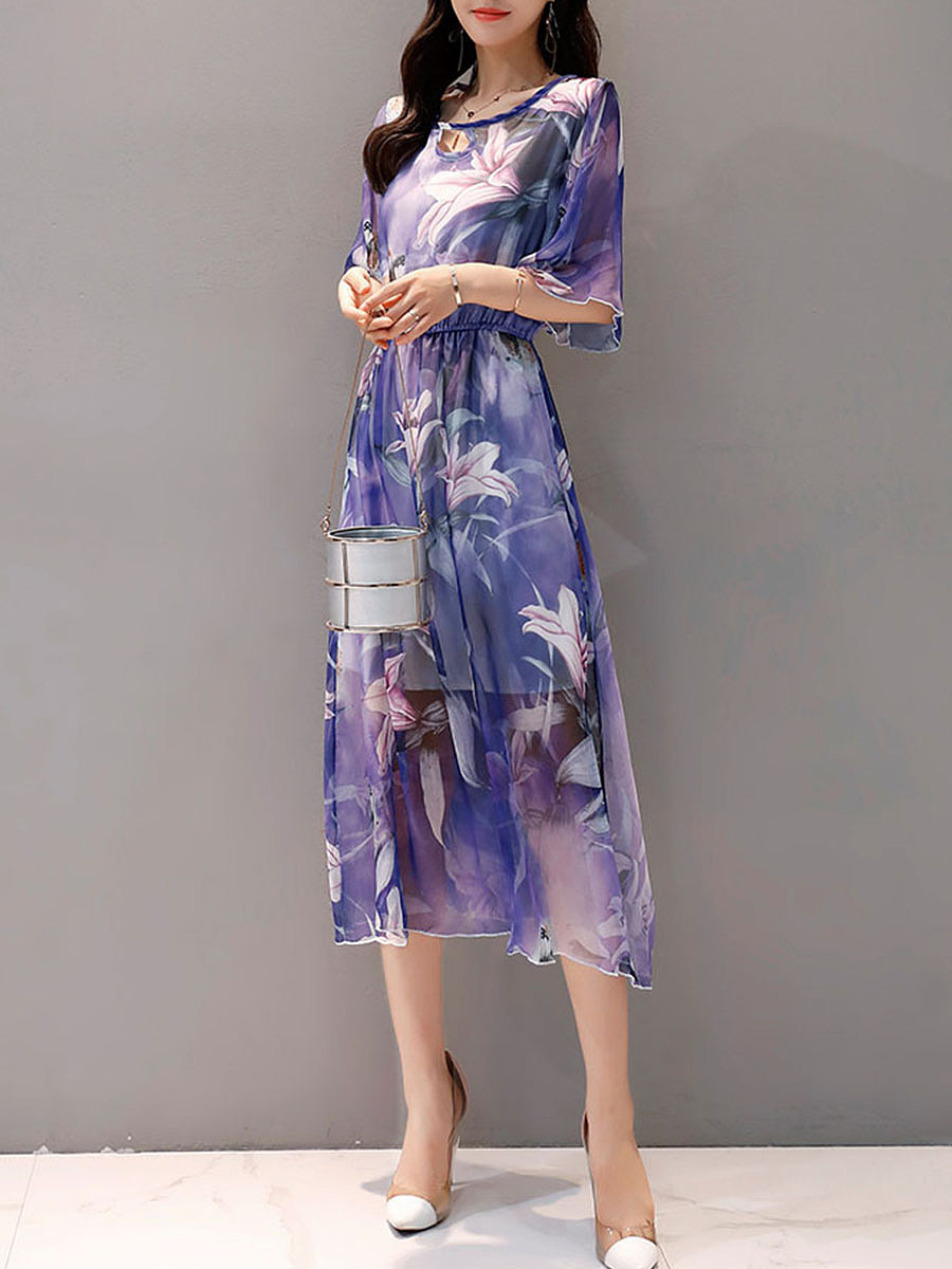 Round Neck Keyhole Floral Hollow Out Chiffon Maxi Dress