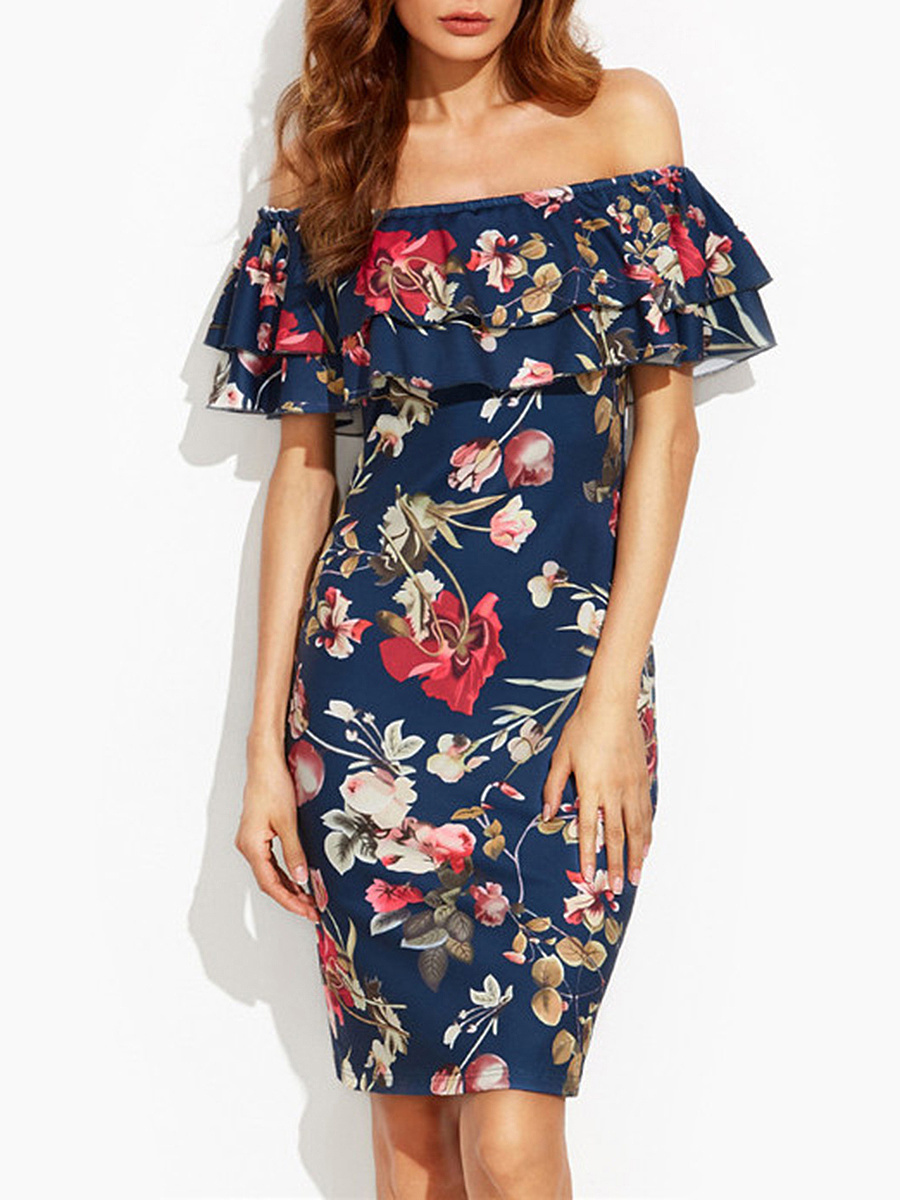 Flounce Off Shoulder Tiered Bodycon Dress In Floral Printed