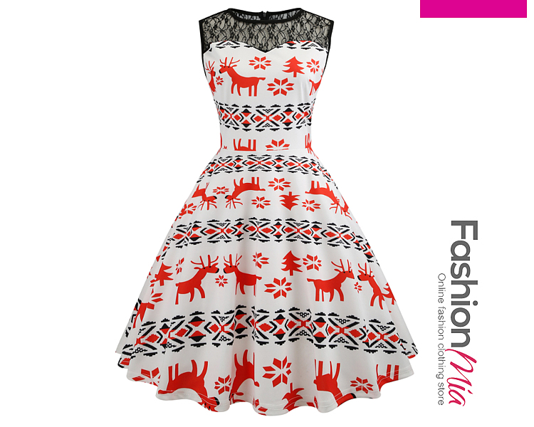Round Neck  Printed Dresses