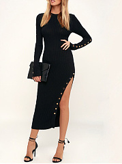 Round Neck  Slit  Decorative Button  Plain Bodycon Dress