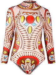 Colorful-Printed-Band-Collar-Long-Sleeve-One-Piece