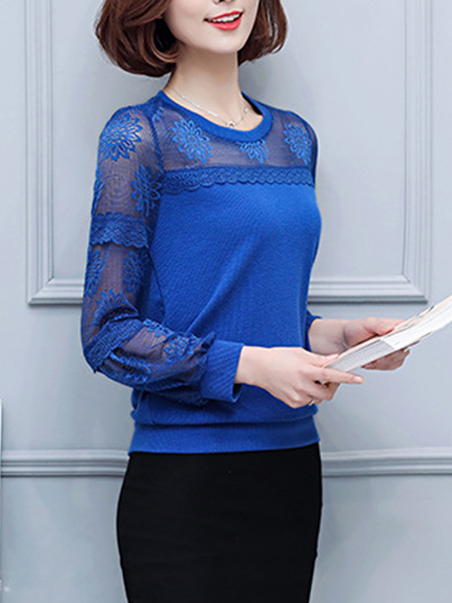 Hollow Out Plain Round Neck Long Sleeve T-Shirt