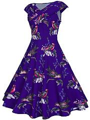 V-Neck-Floral-Bird-Printed-Extraordinary-Skater-Dress