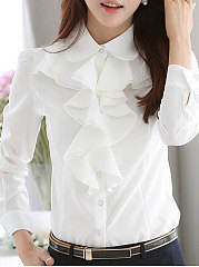 Turn-Down-Collar-Flounce-Single-Breasted-Decorative-Button-Plain-Blouses