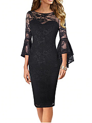 Boat Neck  Decorative Lace  Chain  Plain Bodycon Dress