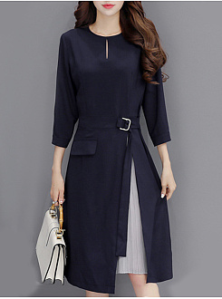 Fashion Seven-Point Sleeves With Medium-Length Slim A-Line Dress