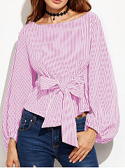 Autumn Spring  Cotton  Women  Round Neck  Bowknot  Striped  Puff Sleeve  Long Sleeve Blouses
