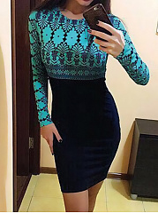 Crew Neck  Abstract Print  Blend Bodycon Dress