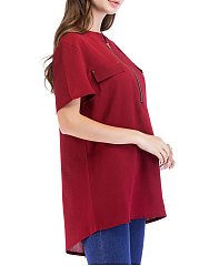 Summer  Polyester  Women  Round Neck  Zips  Plain  Short Sleeve Blouses