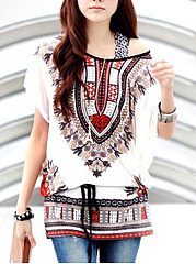 Loose-Printed-Batwing-Sleeve-Round-Neck-Tunic
