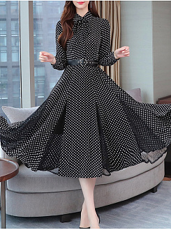 Tie Collar  Polka Dot Maxi Dress