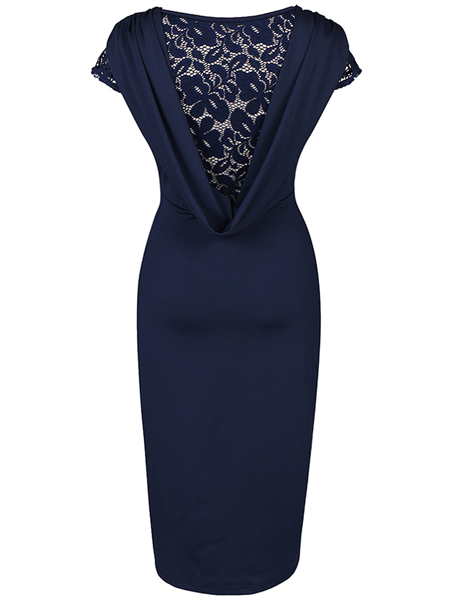 Designed Graceful Round Neck  Hollow Out Solid Bodycon Dress