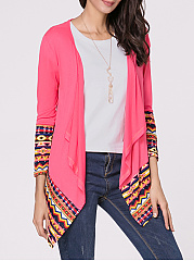 Collarless Geometric Printed Patchwork Cardigan