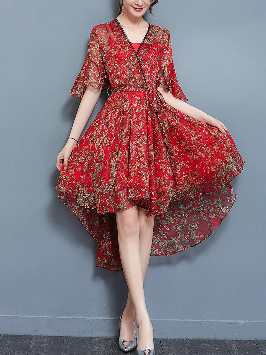 High-Low Bell Sleeve Printed Chiffon Maxi Dress