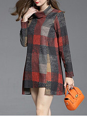 Turtleneck Plaid Mini Shift Dress