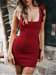 Spaghetti Strap  Plain Bodycon Dress