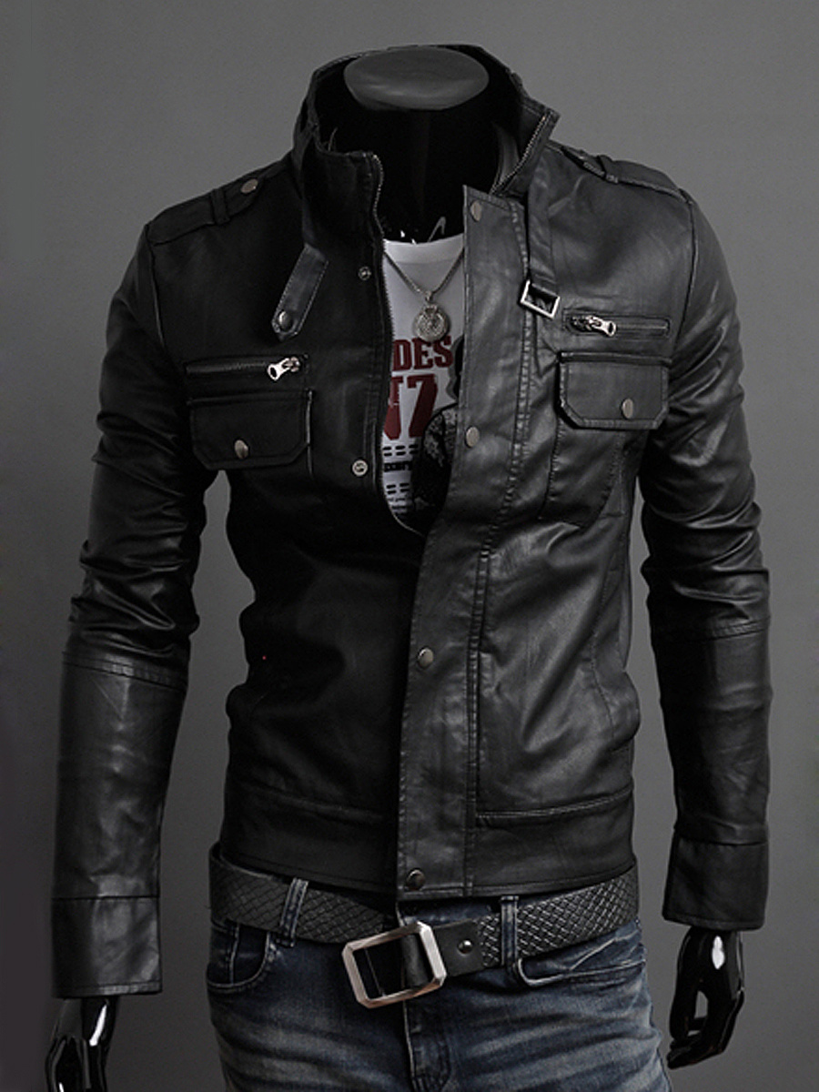 Men Band Collar Flap Pocket Plain PU Leather Biker Jacket