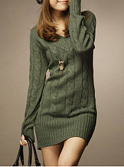 V-Neck  Embossed Plain  Long Sleeve Sweaters