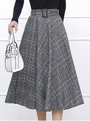 Plaid-Belt-Woolen-Flared-Maxi-Skirt