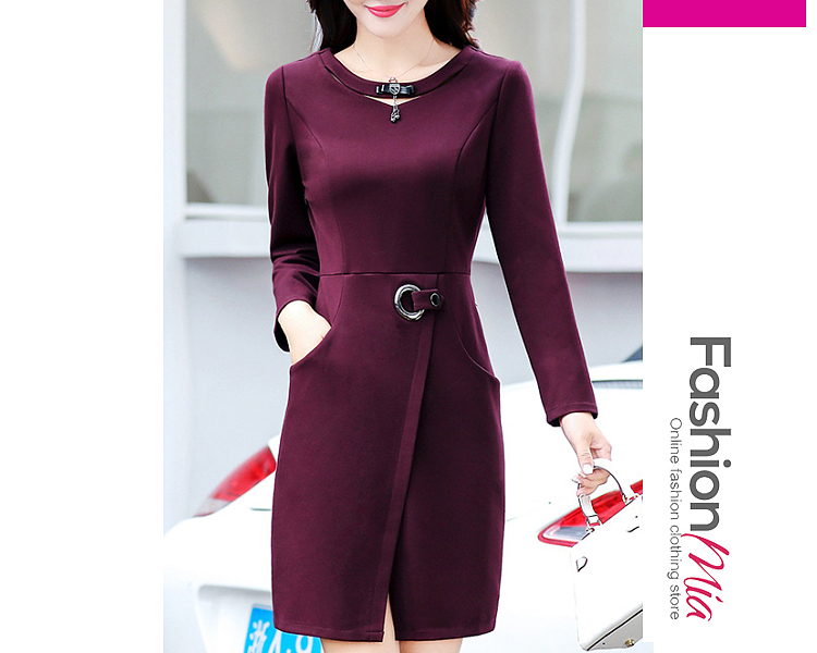 Round Neck  Decorative Hardware  Plain Bodycon Dress