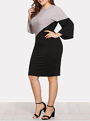 Scoop Neck  Patchwork  Geometric Plus Size Bodycon Dresses
