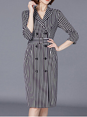 Notch Lapel  Double Breasted  Belt Loops  Vertical Striped Bodycon Dress